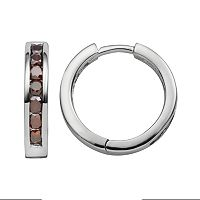 Sterling Silver 1-ct. T.W. Red Diamond Hoop Earrings