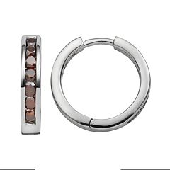 Sterling Silver 1 ctT.W. Red Diamond Hoop Earrings