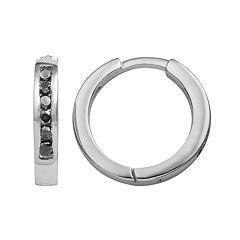 Sterling Silver 1/4 ctT.W. Black Diamond Hoop Earrings
