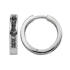Sterling Silver 1/2 ctT.W. Black Diamond Hoop Earrings