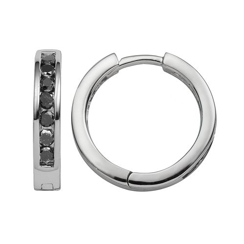 Sterling Silver 1/2-ct. T.W. Black Diamond Hoop Earrings