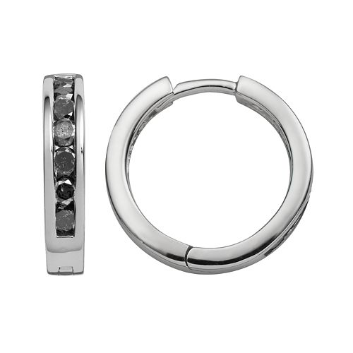 Sterling Silver 1-ct. T.W. Black Diamond Hoop Earrings
