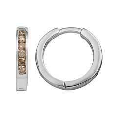Sterling Silver 1/4-ct. T.W. Champagne Diamond Hoop Earrings