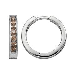 Sterling Silver 1/2 ctT.W. Champagne Diamond Hoop Earrings