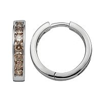 Sterling Silver 1 ctT.W. Champagne Diamond Hoop Earrings