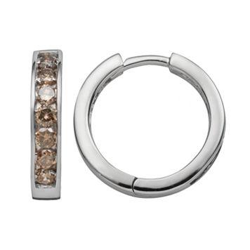 Sterling Silver 1-ct. T.W. Champagne Diamond Hoop Earrings