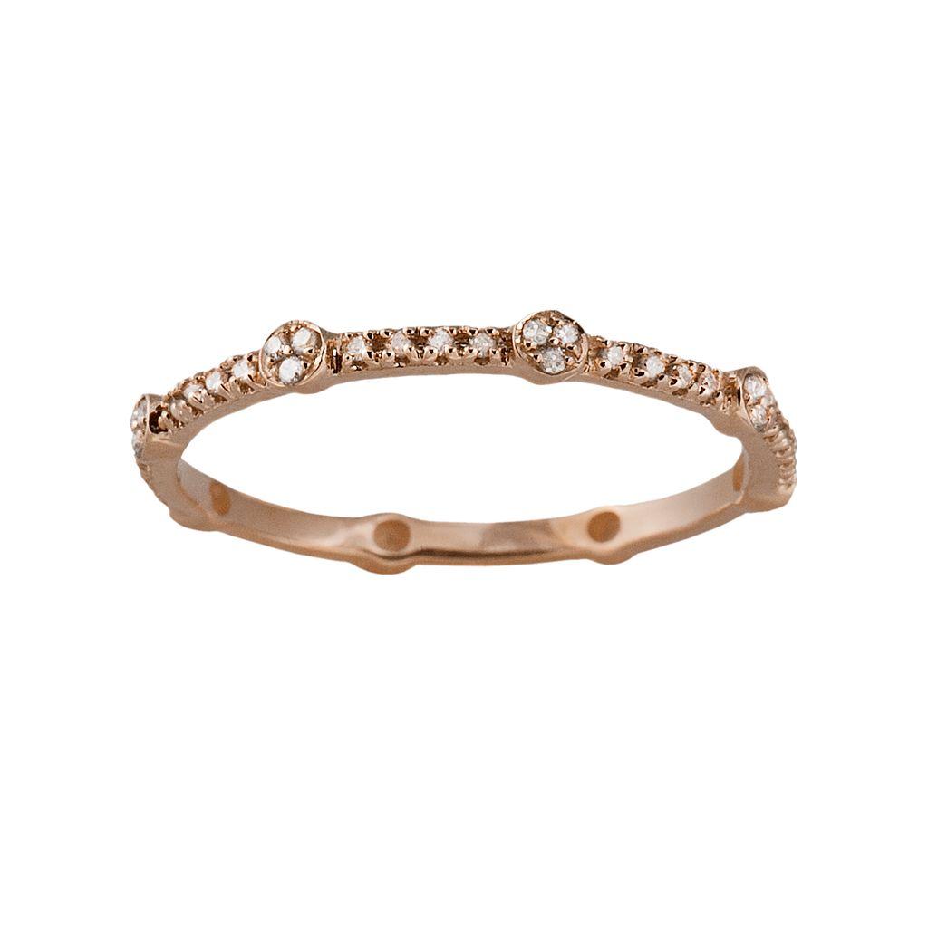 10k Rose Gold 1/6-ct. T.W. Diamond Eternity Stack Ring
