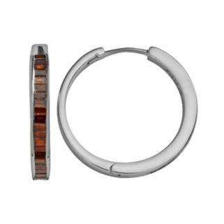 Sterling Silver 1-ct. T.W. Red Diamond Hoop Earrings
