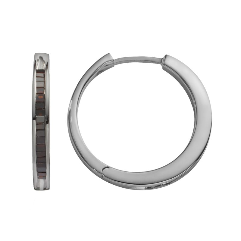 Sterling Silver 1/4-ct. T.W. Black Diamond Hoop Earrings, Women's