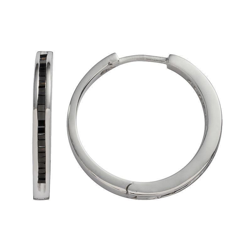 Sterling Silver 1/2-ct. T.W. Black Diamond Hoop Earrings, Women's