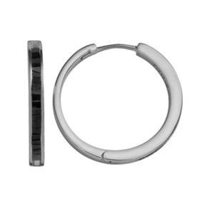 Sterling Silver 1-ct. T.W. Black Diamond Hoop Earrings