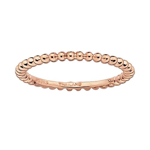 Stacks & Stones 18k Rose Gold Over Silver Bead Stack Ring