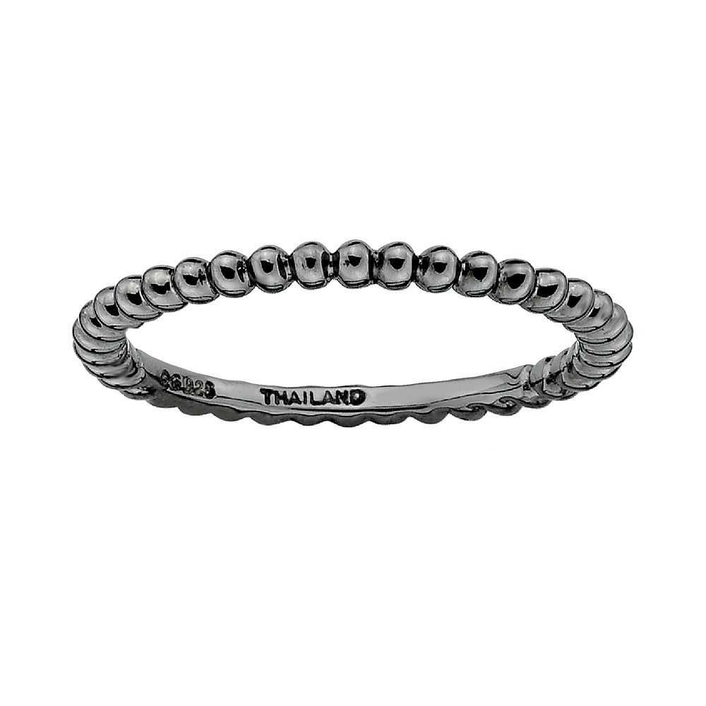 Stacks & Stones Ruthenium-Plated Sterling Silver Bead Stack Ring