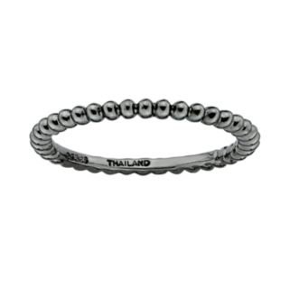 Stacks and Stones Ruthenium-Plated Sterling Silver Bead Stack Ring