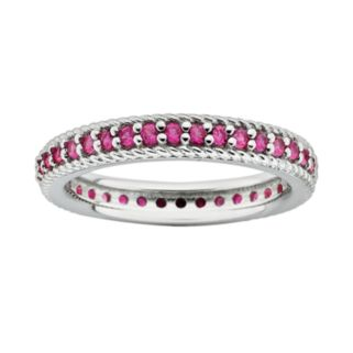 Stacks and Stones Sterling Silver Lab-Created Ruby Eternity Stack Ring