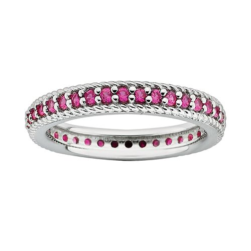 Stacks & Stones Sterling Silver Lab-Created Ruby Eternity Stack Ring