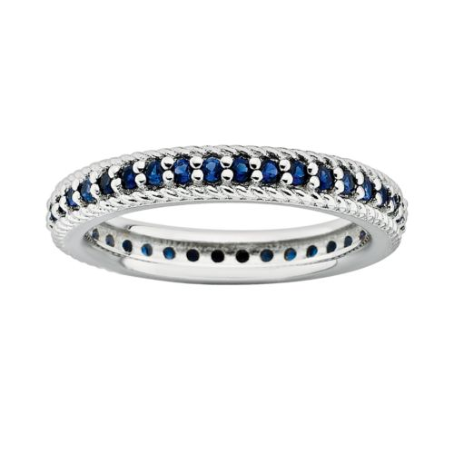 Stacks and Stones Sterling Silver Lab-Created Sapphire Eternity Stack Ring