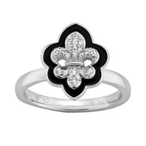 Stacks and Stones Sterling Silver Cubic Zirconia Fleur-de-Lis Stack Ring