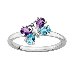 Stacks and Stones Sterling Silver Amethyst and Blue Topaz Butterfly Stack Ring