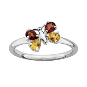 Stacks and Stones Sterling Silver Citrine and Garnet Butterfly Stack Ring