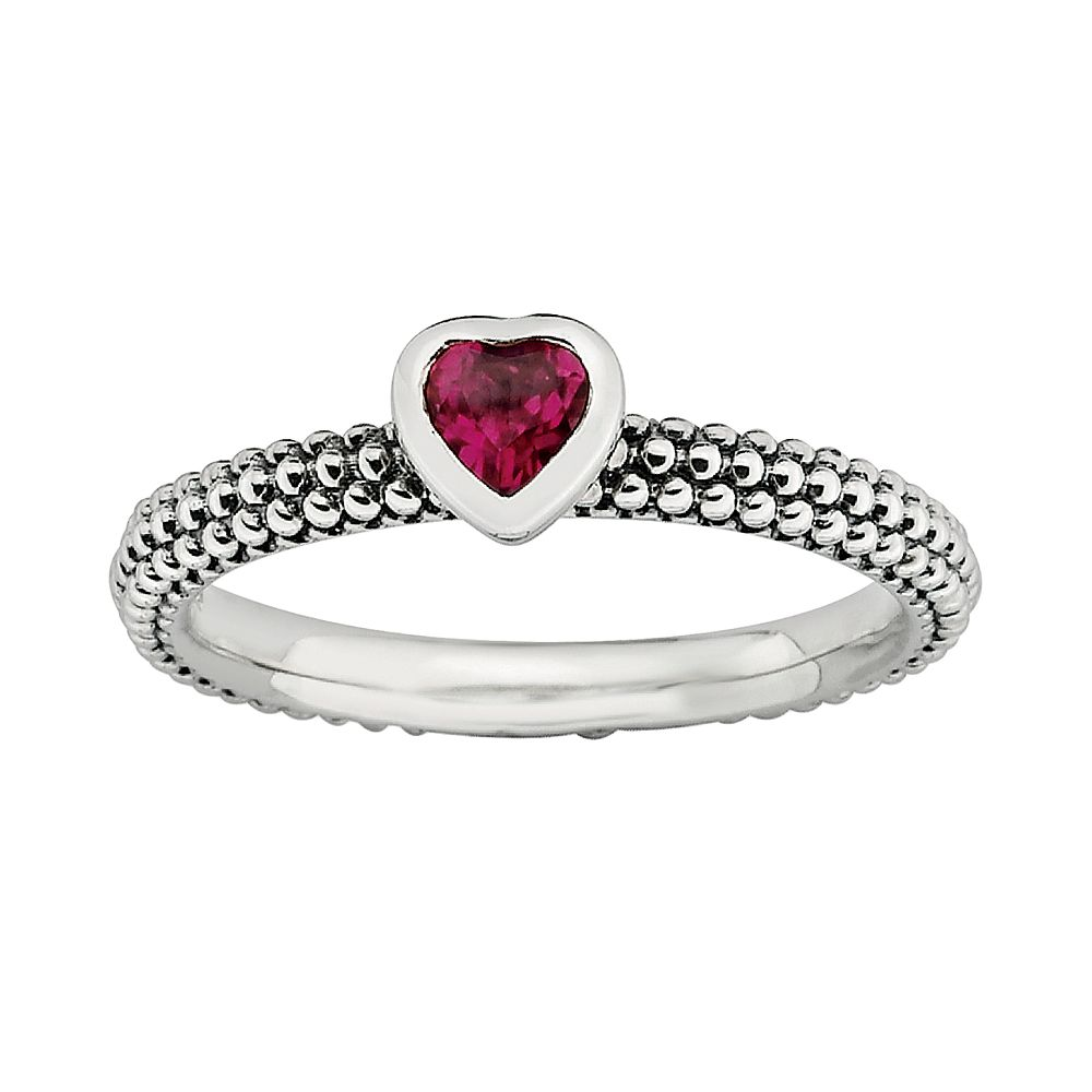 Stacks & Stones Sterling Silver Lab-Created Ruby Heart Stack Ring