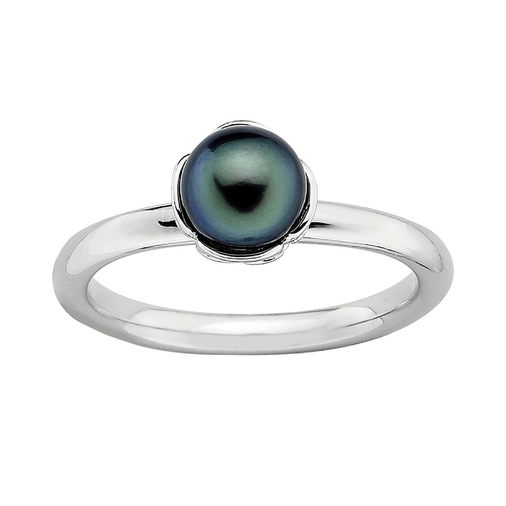 Stacks & Stones Sterling Silver Dyed Freshwater Cultured Pearl Stack Ring