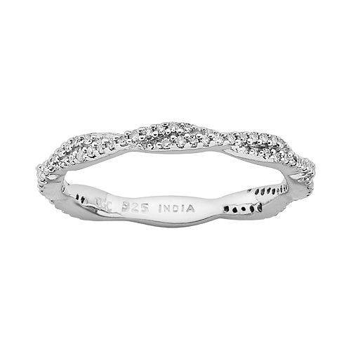 Stacks & Stones Sterling Silver 1/4-ct. T.W. Diamond Twist Stack Ring