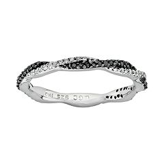 Stacks & Stones Sterling Silver 1/4 ctT.W. Black & White Diamond Twist Stack Ring