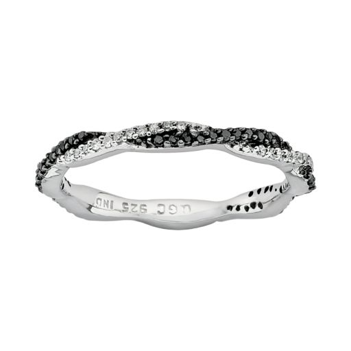 Stacks and Stones Sterling Silver 1/4-ct. T.W. Black and White Diamond Twist Stack Ring
