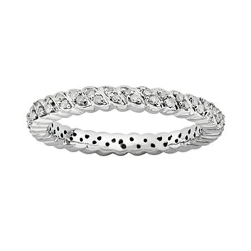 Stacks & Stones Sterling Silver 1/6-ct. T.W. Diamond Stack Ring