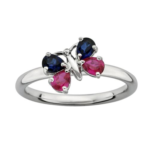 Stacks and Stones Sterling Silver Lab-Created Ruby and Lab-Created Sapphire Butterfly Stack Ring