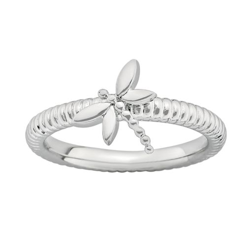 Stacks and Stones Sterling Silver Dragonfly Stack Ring
