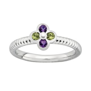 Stacks and Stones Sterling Silver Amethyst and Peridot Ribbed Flower Stack Ring
