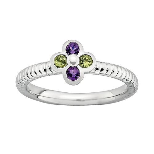Stacks & Stones Sterling Silver Amethyst & Peridot Ribbed Flower Stack Ring