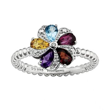 Stacks & Stones Sterling Silver Gemstone & Diamond Accent Beaded Flower Stack Ring