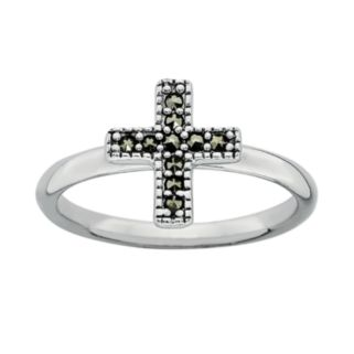 Stacks and Stones Sterling Silver Marcasite Cross Stack Ring