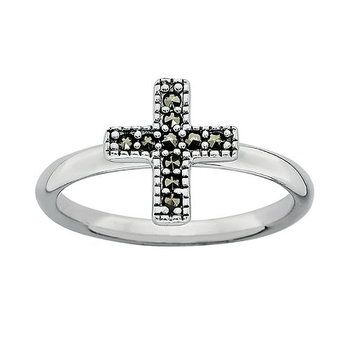 Stacks & Stones Sterling Silver Marcasite Cross Stack Ring