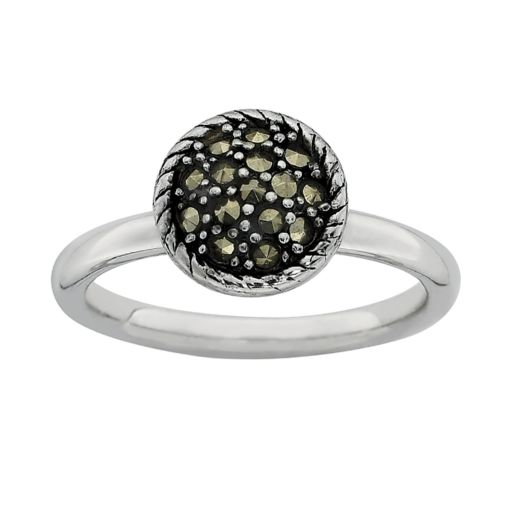 Stacks and Stones Sterling Silver Marcasite Stack Ring
