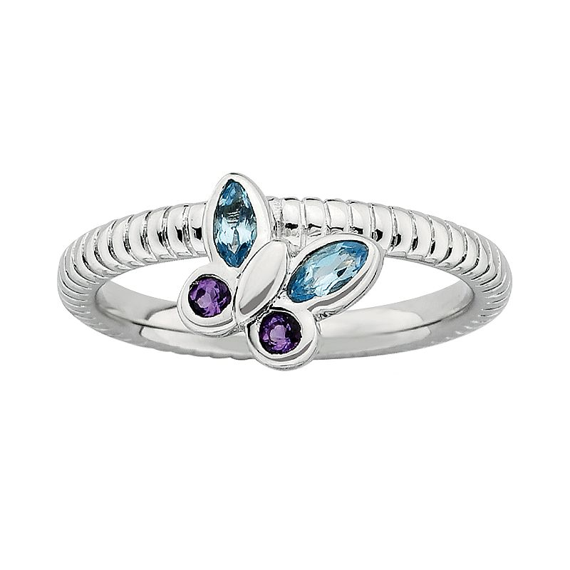 Stacks and Stones Sterling Silver Amethyst and Blue Topaz Ribbed Butterfly Stack Ring