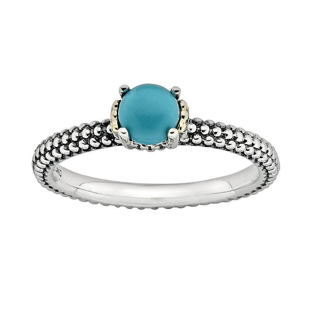 Stacks & Stones 14k Gold & Sterling Silver Simulated Turquoise Stack Ring