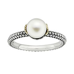 Stacks & Stones 14k Gold & Sterling Silver Freshwater Cultured Pearl Stack Ring