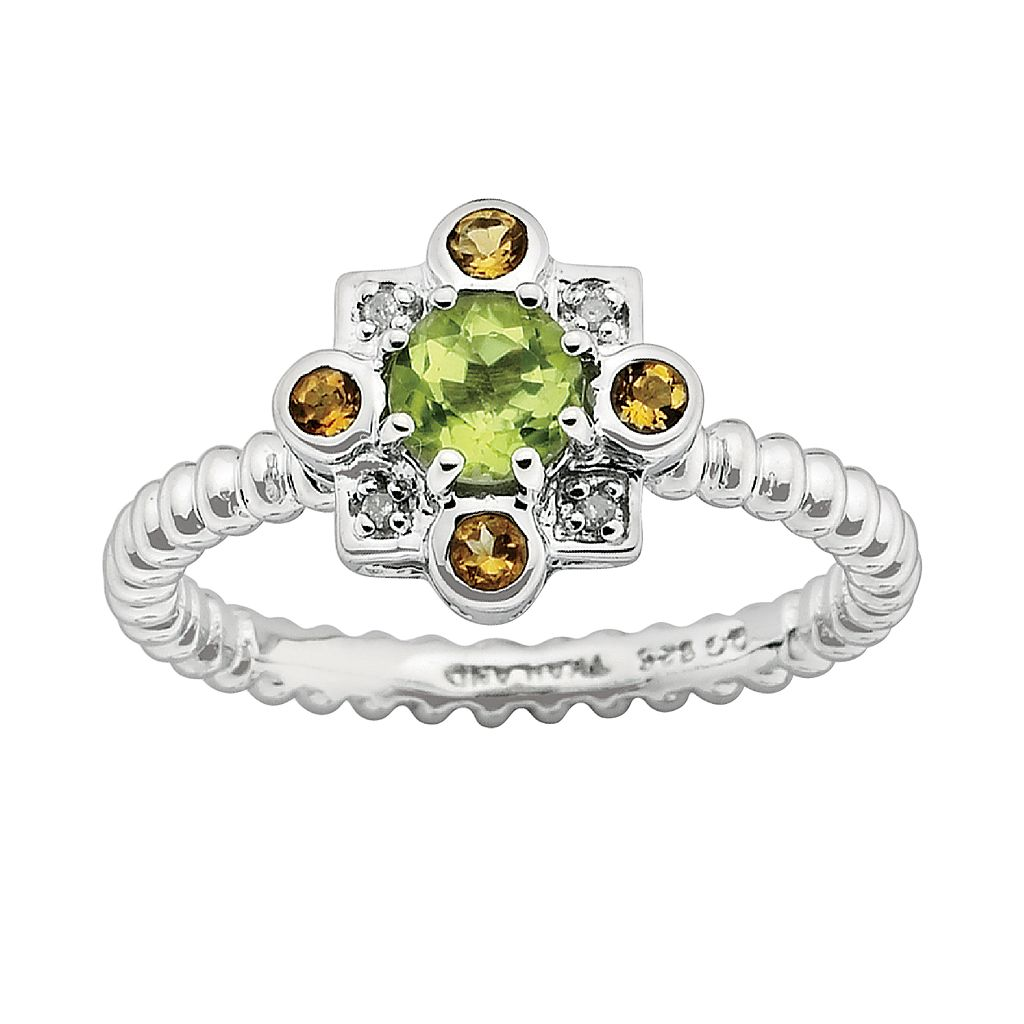 Stacks & Stones Sterling Silver Peridot, Citrine & Diamond Accent Beaded Stack Ring