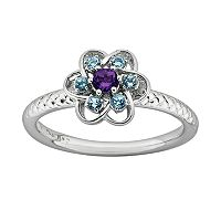 Stacks & Stones Sterling Silver Amethyst & Blue Topaz Textured Flower Stack Ring