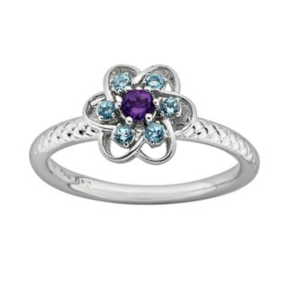 Stacks and Stones Sterling Silver Amethyst and Blue Topaz Textured Flower Stack Ring