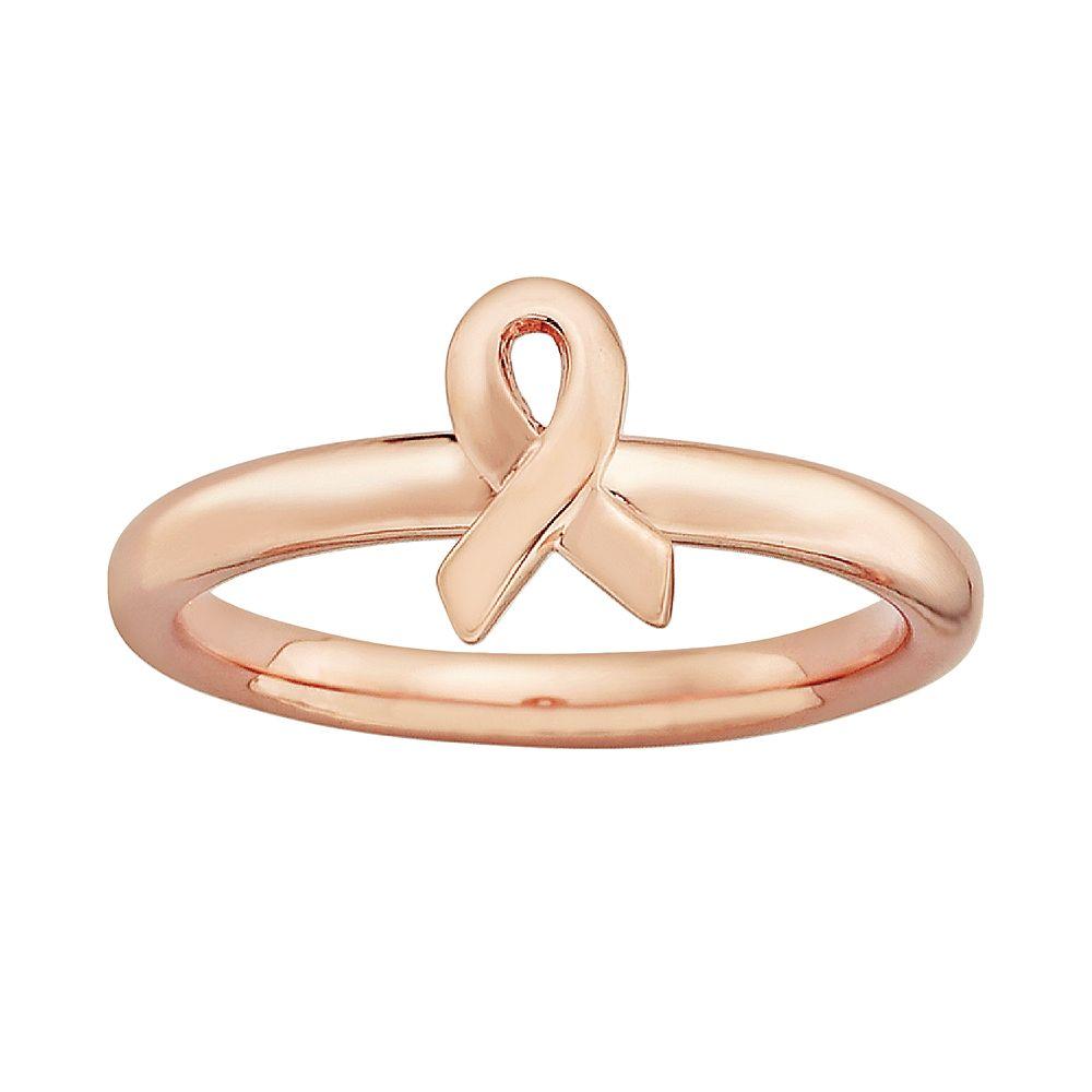 Stacks & Stones 14k Rose Gold Over Silver Breast Cancer Awareness Ribbon Stack Ring