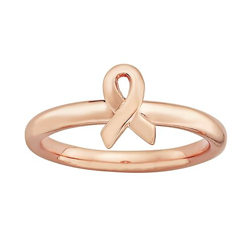 Stacks & Stones 14k Rose Gold Over Silver Breast Cancer Awareness Ribbon Stack Ring