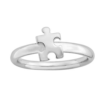 Stacks & Stones Sterling Silver Puzzle Piece Stack Ring