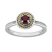 Stacks & Stones 14k Gold & Sterling Silver Garnet Textured Frame Stack Ring