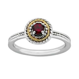 Stacks and Stones 14k Gold and Sterling Silver Garnet Textured Frame Stack Ring