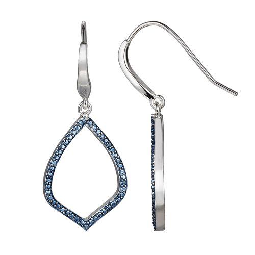 Silver Plated Blue Diamond Accent Teardrop Earrings